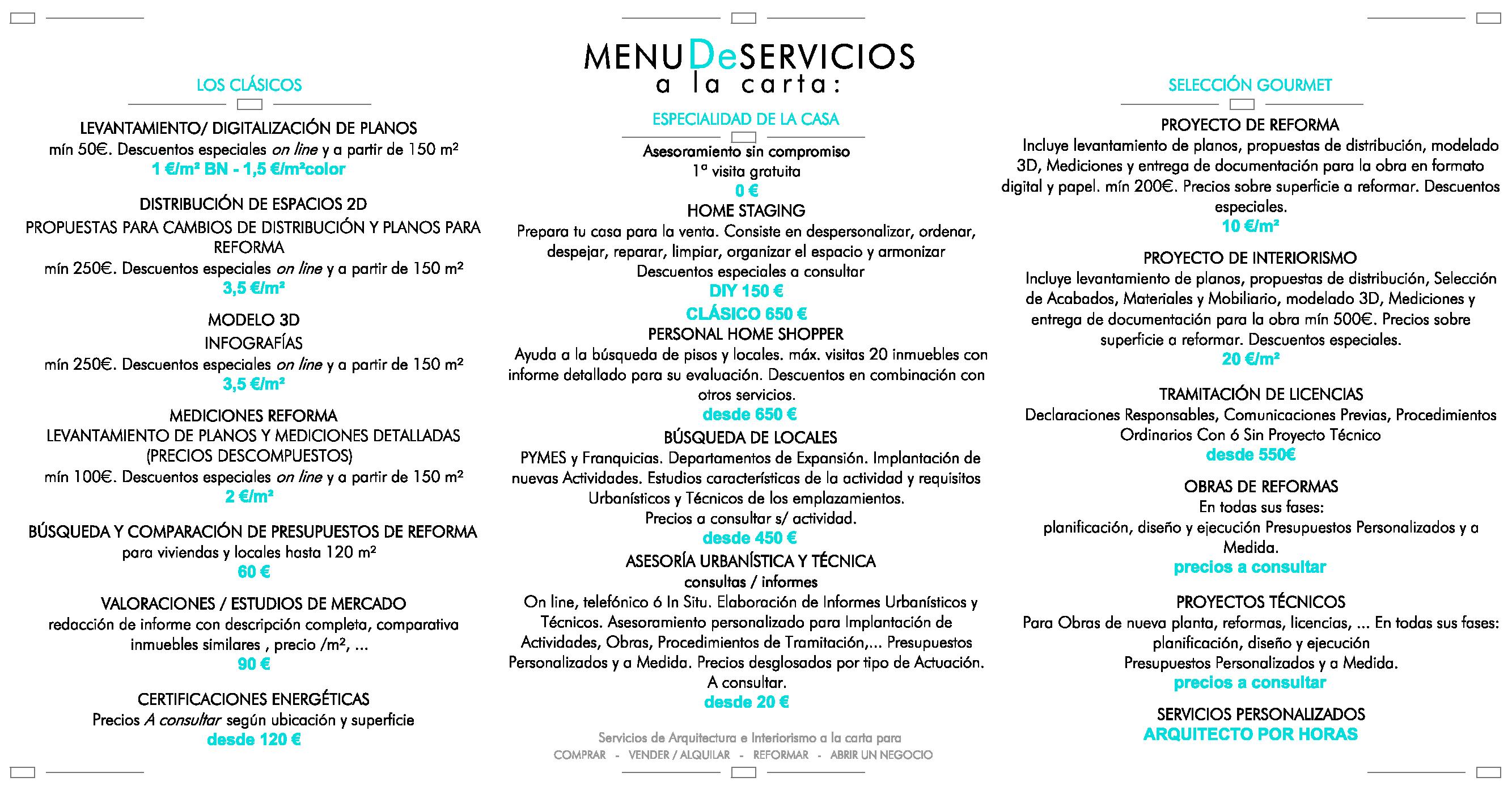 PRECIOS ARQUITECTO-PROYECTOS-REFORMAS-LICENCIAS